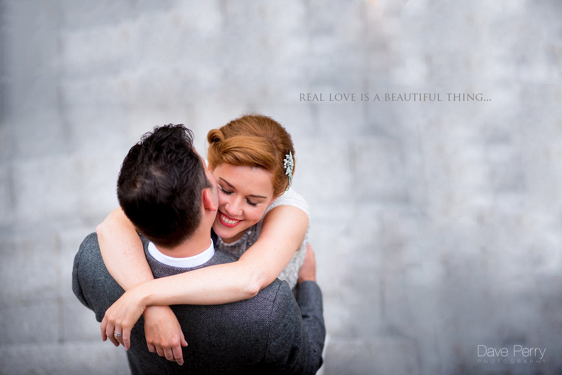 Couple embrace lovingly at Wootton Park Warwickshire by Dave Perry