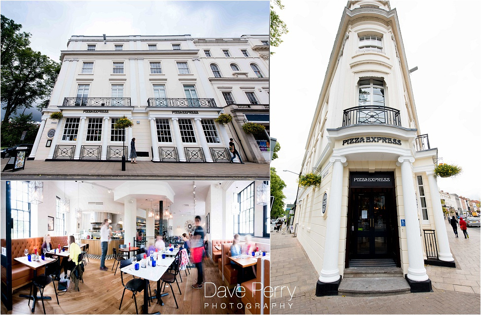 Exterior and interior shots of the pizza express in leamington spa